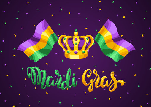 Mardi Gras party greeting or invitation card.