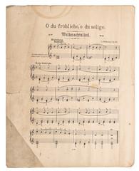 Old music sheet popular Christmas carol Used paper