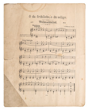 Old music sheet popular Christmas carol Used paper