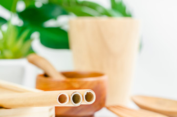 Bamboo straw tube for drink water and wooden utensil with green leaves.
