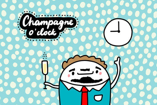 Champagne o'clock hand drawn vector illustration in cartoon comic style businessmen holding glass of drink