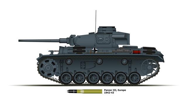 Char allemand Panzer 3 - Europe - WW2