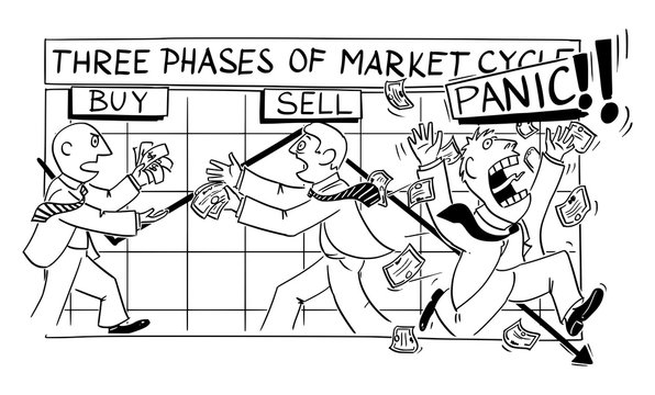 Vector funny cartoon drawing of stock market phases and cycles. Investors buy, sell and panic with financial graph on the background.
