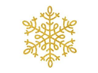 Gold Christmas snowflake on white