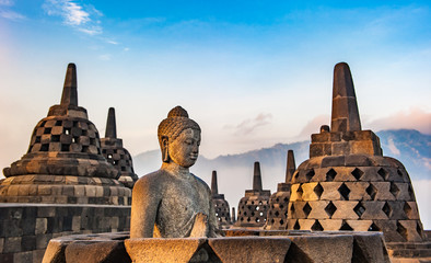 Poster Buddha Borobudur temple at sunrise, Java, Indonesia