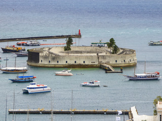 Salvador, Brazil - Circa September 2019: Sao Marcelo Fort - Circular, stone sea fort & former prison dating from the 17th century, built on a reef