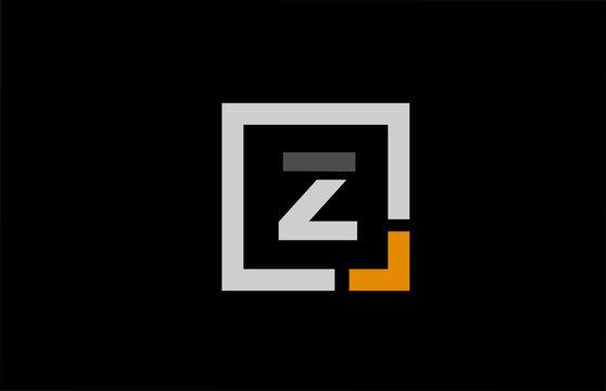 black white orange square letter Z alphabet logo design icon for company