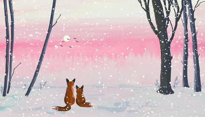 Fotorolgordijn Grijs Winter forest landscape with foxes.