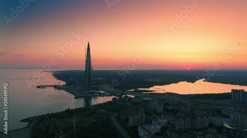 Fotobehang Aerial view of Saint Petersburg, Russia, skyline at sunset.