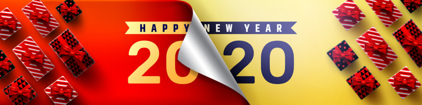 2020 Happy New Year Promotion Poster or banner with open gift wrap paper and gift box.Change or open to new year 2020 concept.Promotion and shopping template for New Year.Vector EPS10