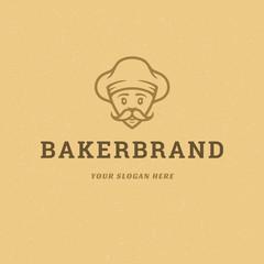 Bakery badge or label retro vector illustration baker man or chef in hat silhouette for bakehouse.