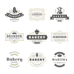 Bakery logos and badges design templates set vector illustration.