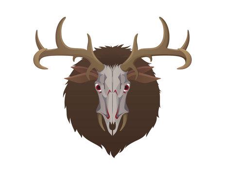 Wendigo monster head. Animal skull with deer horns fur and ears. Creature from native american folklore beliefs. Windigo mythical evil spirit for halloween or folklore school lesson. raster image