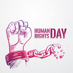 Sketched Hand fist raise up with breaking chain,International  Human Rights Day poster grunge texture, vector Illustration