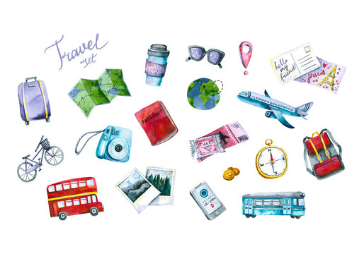 Set of watercolor travel icons. Hand painted trendy illustrations isolated on white circles. Bright signs are perfect for blogger, traveler, influencer, highlight covers, social media design, stickers
