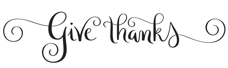 Wall Mural - GIVE THANKS black vector brush calligraphy with spirals