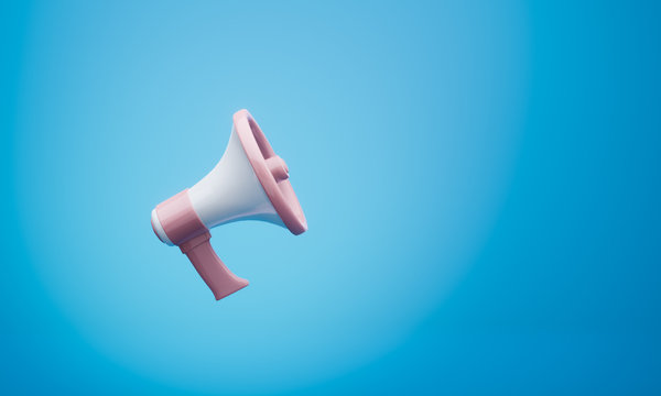 3d rendering of a pink and white megaphone hangs on a blue background