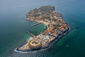 Fotobehang Kust Aerial view of Goree Island. Gorée. Dakar, Senegal. Africa. Photo made by drone from above. UNESCO World Heritage Site.