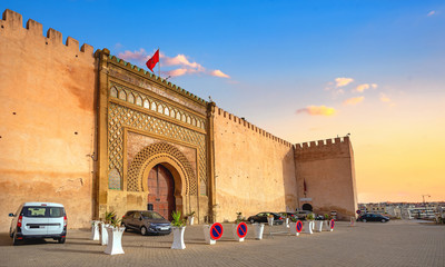 Old walls and gate Bab El-Mansour at El Hedim square in Meknes. Morocco, North Africa