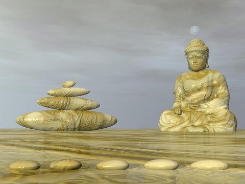 Zen Buddha meditation next to stones - 3D render