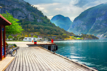 Wooden pier in Aurland. Aurlandsfjord,  Norway