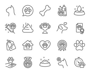 Pets line icons. Veterinary, dog care and cat food. Lovely animals, shampoo for pets and doghouse icons. Vaccine, pet care and dog paw. Winner cup, certificate and medal. Animal feces. Vector