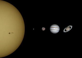 Just a representation of some planet of our solar system; Sun (with its sunspot); Moon; Mars; Jupiter and Saturn. Isolated in the deep space.