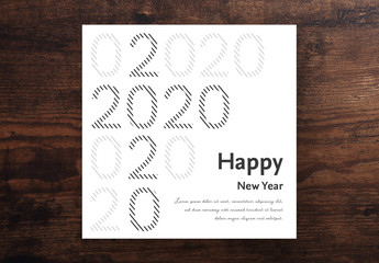 Happy New Year Card Layout with Lined Numbers