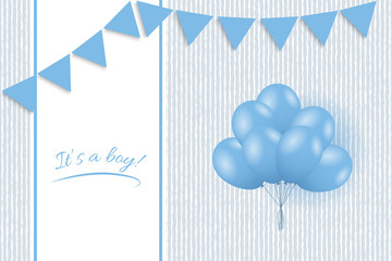 Baby boy shower card. Greeting card with balloons