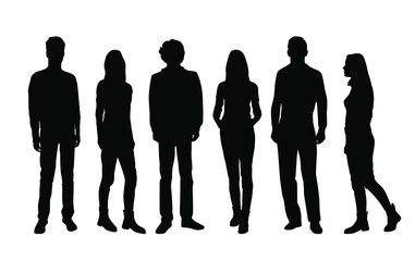 Vector silhouettes of  men and a women, a group of standing and walking business people, black color isolated on white background Wall mural