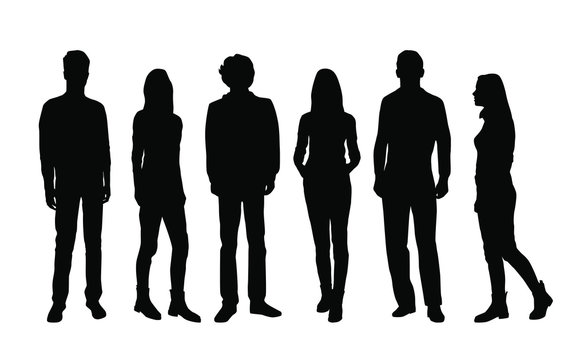 Vector silhouettes of  men and a women, a group of standing and walking business people, black color isolated on white background