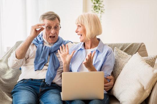 Mature couple surprised by good unbelievable news