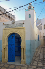Traditional door of a mosque on the medina at Sousse, Tunisia