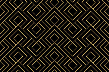 Fotorolgordijn Geometrisch The geometric pattern with lines. Seamless vector background. Gold and black texture. Graphic modern pattern. Simple lattice graphic design