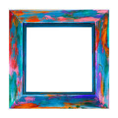 Wooden Picture Frame - Isolated - fun square art frame, in multicolor swirls and spashes of paint - abstract desigin.