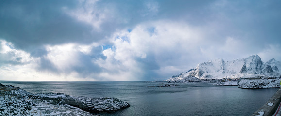 Panorama   seashore and mountains in Norway