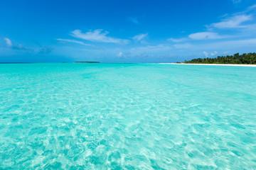 tropical Maldives island with white sandy beach and sea. - fototapety na wymiar
