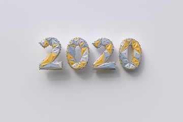stylized numbers 2020 on white background