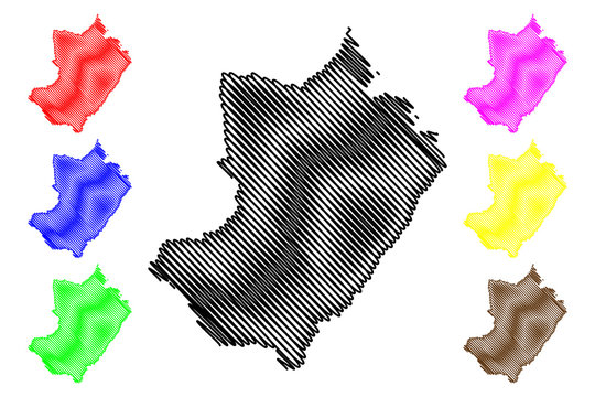 Lekoumou Department (Departments of the Republic of the Congo, Congo-Brazzaville, Congo Republic,RotC) map vector illustration, scribble sketch Lekoumou map