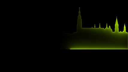 Deurstickers 3D rendering of an abstract bright neon city silhouette. Laser technology background design