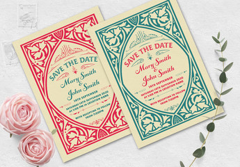Vintage Wedding Invitation Layout