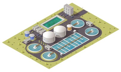 Wastewater or sewage treatment plant, water purification facilities and pumping station equipment isometric design. 3d vector icon of filtration tank, storage and cleaning reservoirs with pipes