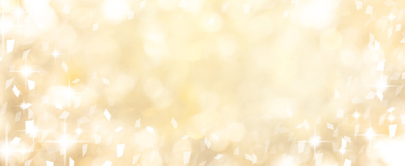 blur elegance yellow color background with glow light and confetti flying spreading with copy space for design on special day such as merry christmas festival , happy new year 2020 celebration,