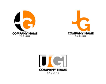 Set of Initial Letter JG Logo Template Design