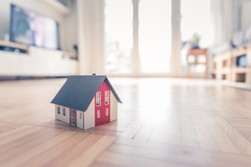New home and house concept: Red house model  indoors