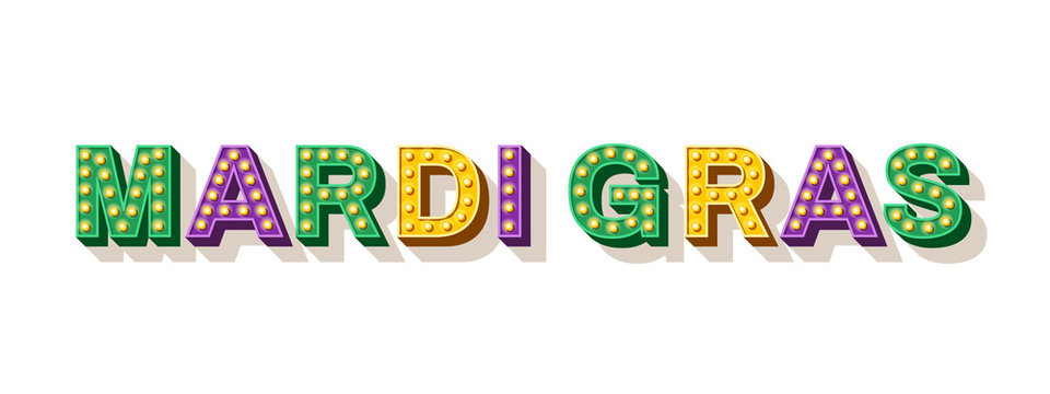 Mardi Gras typography design. Vector illustration. Retro light bulbs font