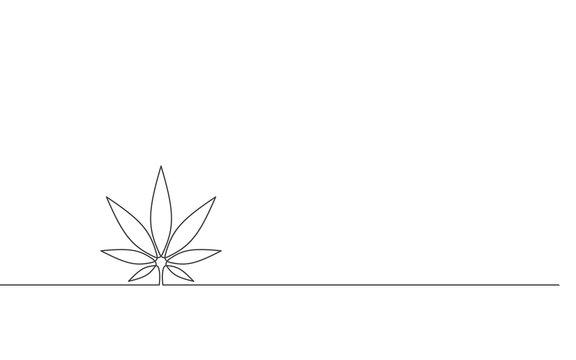 Continuous drawing of cannabis leaf. Cannabis, medical marijuana leaf.