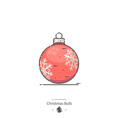 Red Christmas Bulb - Line color icon