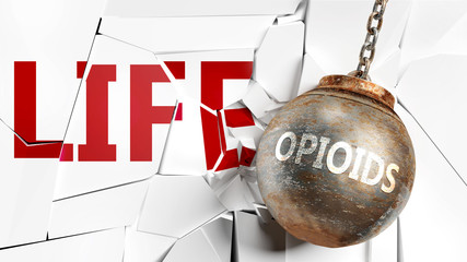 Opioids and life - pictured as a word Opioids and a wreck ball to symbolize that Opioids can have bad effect and can destroy life, 3d illustration
