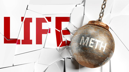 Meth and life - pictured as a word Meth and a wreck ball to symbolize that Meth can have bad effect and can destroy life, 3d illustration
